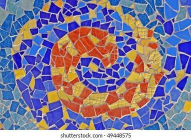 mosaic wall from ceramic broken tile