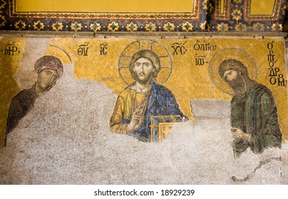 Mosaic wall, Jesus figure in Hagia Sophia, Istanbul, Turkey