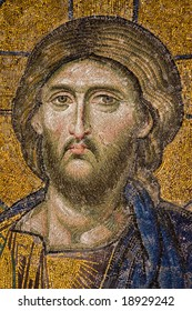 Mosaic wall, Jesus portrait figure in Hagia Sophia, Istanbul, Turkey