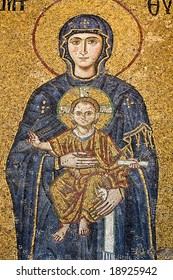 Mosaic wall, Virgin Mary and baby Jesus figure, Hagia Sophia, Istanbul, Turkey