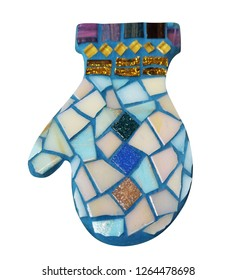 Mosaic wares. Decorative wares  with elements of mosaic. Mosaic decoration on the Christmas tree.