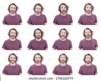 Mosaic of young adult expressions on white background