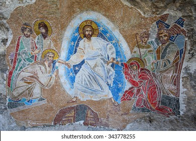 Mosaics in Ostrog monastery, Montenegro. Ostrog monastery is the most popular pilgrimage place in Montenegro.