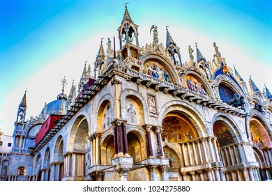 Mosaics Saint Mark's Basilica Venice Italy.  Church created 1063 AD, Saint Mark's relics moved to this church