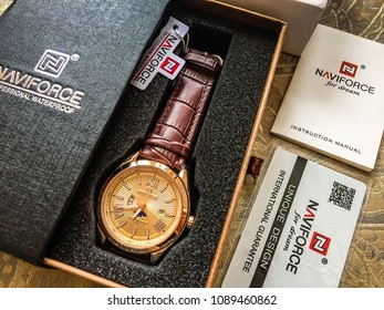 Moscow, 1 May 2018: Black box with watch. luxury men's watch in a gift box. Men's mechanical classic watch on white background. luxury men's watch in a gift box