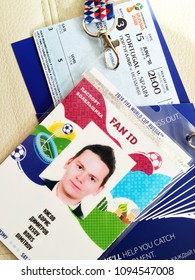 Moscow, 1 May 2018: Fan ID of 2018 FIFA World Cup football Russia. Tickets for the 2018 FIFA World Cup in Russia in summer, Fisht Stadium, Spain - Portugal. football 2018 world championship background