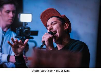 MOSCOW - 1 NOVEMBER, 2015 : Presentation of Russian hip-hop magazine Rhyme Magazine. Guests include famous singers : Mot, G-Wylx, Batishta, Mark Evich, Dino MC 47, Lil Archi, Elvira T, Zhenya Didur