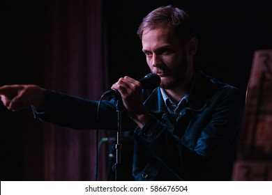 MOSCOW - 1 NOVEMBER,2015: Portrait of famous Russian rap singer Mark Evich perform live event in night club at presentation of hip hop magazine Rhyme.Popular hip hop artist sing on party in nightclub