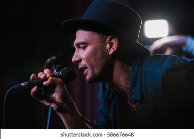 MOSCOW - 1 NOVEMBER,2015: Portrait of famous Russian singer Mark Evich  performing live event in night club at presentation of hip hop magazine Rhyme.Popular hip hop artist sing on party in nightclub