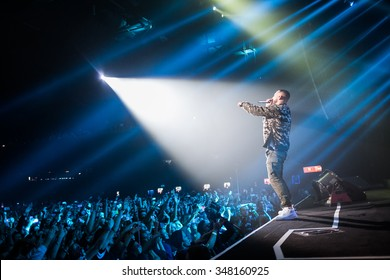 MOSCOW - 11 OCTOBER, 2015 : Artist of Black Star music lable Levan Goroziya known as L'One celebrating his birthday in Space Moscow nightclub gathering more than 8000 people.