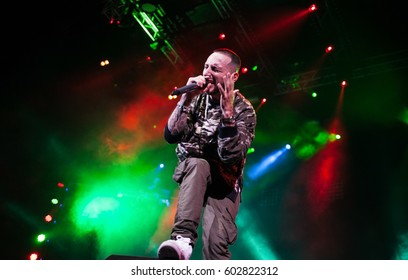 MOSCOW - 11 OCTOBER,2015: Big concert of famous Russian hip hop singer L'One in nightclub.Popular rapper performing live music show in night club.Live rap music entertainment event in music hall