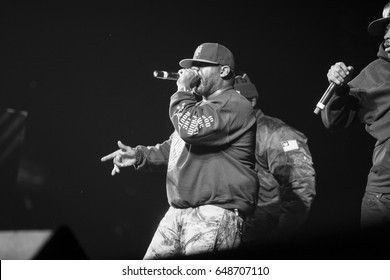 MOSCOW - 13 NOVEMBER,2015: Popular American hip hop band Wu-Tang Clan performing live in night club.Famous rap singer on stage.Black & white shot of celebrity rapper