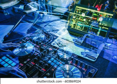 MOSCOW - 14 OCTOBER,2016: Girl dj play music on professional midi controller turntable & notebook on stage in night club.Female disc jockey mix music tracks on scene.View from stage in double exposure