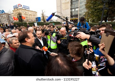 MOSCOW - 15 SEPTEMBER: Opposition activist Gennady Gudkov speaks at a  an anti-Putin protest  rally in central in Moscow on September 15, 2012 in Moscow. Thousands marched through Moscow to protest.