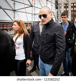 MOSCOW - 15 SEPTEMBER: Opposition leader Sergey Udaltsov speaks at a anti-Putin protest rally in central Moscow, on September 15, 2012 in Moscow.