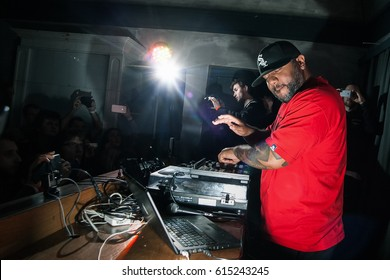 MOSCOW - 19 DECEMBER,2015: Concert of famous American classic hip hop music producer Apollo Brown playing live set in party bar on stage.Adult night life entertainment event.Party dj play music set