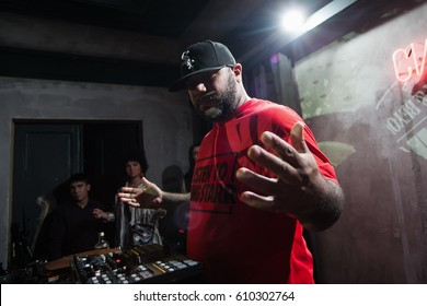 MOSCOW - 19 DECEMBER,2015: Famous hip hop music producer Apollo Brown play live dj set at party in night club.Popular American classic rap music composer playing in nightclub.Entertainment event