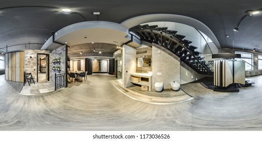Moscow - 2018: 3D spherical panorama with 360 degree viewing angle of Beautiful fashionable interior of furniture design store modern mall loft Equirectangular projection Ready for virtual reality vr