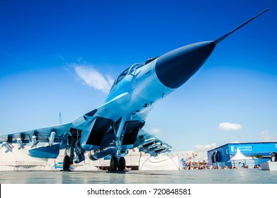 Moscow 21 July 2017: Front of a new Mikoyan MiG-35 fighter jet replaces the Mikoyan MiG-29 fighter jet of the Russian air force MiG 35. Armed military plane. Russian army fighter jet MIG 35 Fulcrum-F