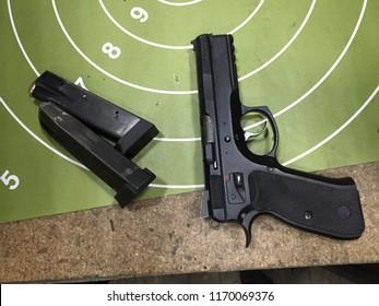 Moscow, 22 August 2018: Gun pistol CZ 75 . Automatic steel pistol made by Czech firearm manufacturer ČZUB. steel gun, Machine pistol or handgun of Czech Republic. Protection and safety concept