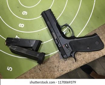 Moscow, 22 August 2018: Gun pistol CZ 75. Automatic steel pistol made by Czech firearm manufacturer ČZUB. steel gun, Machine pistol or handgun of Czech Republic. Protection and safety concept