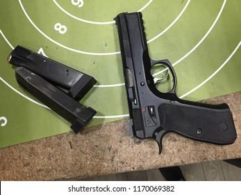 Moscow, 22 August 2018: Gun pistol CZ 75  SP-01 Shadow cal 9 mm Luger. Automatic steel pistol made by Czech firearm manufacturer ČZUB. steel gun, Machine pistol or handgun of Czech