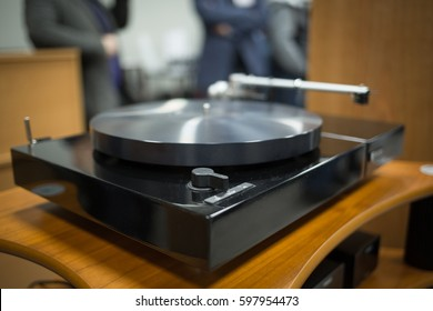MOSCOW - 25 FEBRUARY,2017: Big turntable vinyl records player expo in Nota salon.Shop sale of hifi audio equipment for sound enthusiasts.Analog turn table vinyl sound system.Handmade hi-fi player