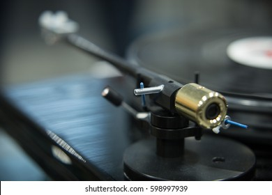 MOSCOW - 25 FEBRUARY,2017: Turntable vinyl records player expo in Nota salon.Exposition sale of hifi audio equipment for sound enthusiasts.Analog turn table vinyl sound system.Handmade hi-fi player
