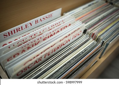 MOSCOW - 25 FEBRUARY,2017: Vinyl collection sale in audiophile shop Nota.Hi-fi audio equipment store for sound enthusiasts.Old turntable vinyl records,analog disc with music.Hipster vinyls records