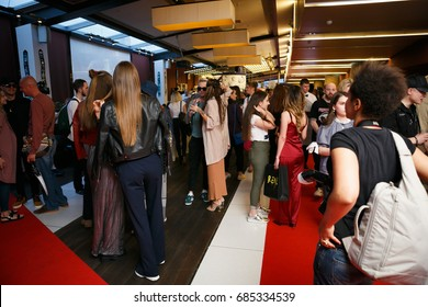 """MOSCOW - 25 JULY,2017: Private party at presentation of the movie """"2Pac - The Legend"""" in Russia.Luxury party in theatre"""