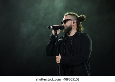 MOSCOW - 25 September, 2016 : Like FM Radio hosted Like Party event at Space Moscow nightclub. Pop singer Garik Burito singing on stage
