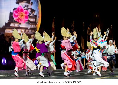 "Moscow - 26 August 2016:  international festival of military orchestra ""Spasskaya tower"",  Folk group ""Awa Odori"". Japan. Russia."