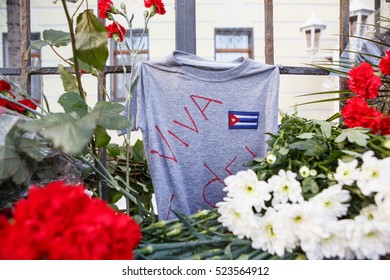 MOSCOW - 27 NOVEMBER,2016: Memorial with flovers at embassy of Rebulic Cuba.People mourn over death of Cuban President Fidel Castro.Funeral of natoinalist Communist politican and revolutionary