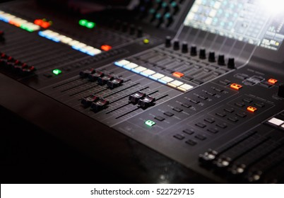 MOSCOW - 27 OCTOBER,2016: Stage lighting control panel for light technician to work at concert in night club.Scene lights controller mixer panel.Professional nightclub music show equipment editorial