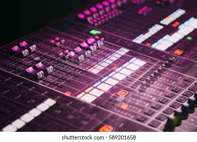 MOSCOW - 27 OCTOBER,2016: Stage lighting control panel for light technician.Concert equipment in night club.Lights controller mixer panel.Professional nightclub music show equipment.Double exposure