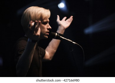 MOSCOW - 28 APRIL, 2016 : Concert of popular Russian pop rock singer Roman Litvinov known as Mujuice in the Yotaspace club
