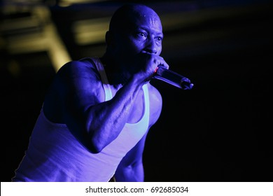 MOSCOW - 3 AUGUST,2017:Concert of rap band Onyx.Famous oldschool American gangsta rapper Fredro Starr sing on stage in night club.Popular hip hop singer performing live set on scene