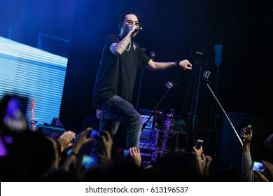 MOSCOW - 5 DECEMBER,2015: Popular Russian hip hop singer Scriptonit concert in night club.Famous rapper presents his new album in the club.Entertainment event with live music show.Rap singer portrait