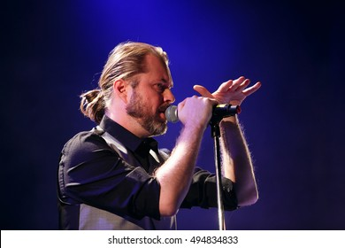 MOSCOW - 6 OCTOBER,2016 : Vacuum and Mattias Lindbloom playing concert on stage of night club.Lead singer sing in bright lights on scene during the show.Popular celebrity person,famous around World.