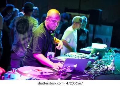 MOSCOW - 7 AUGUST, 2016 : Invisibl Skratch Piklz (DJ Q-Bert, DJ D-Styles, DJ Shortkut) judging Russian DMC DJ finals.