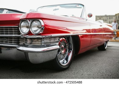 MOSCOW - 7 AUGUST, 2016 : Old classic American red Cadillac coupe exposed at Faces & Laces Festival in Gorky Park