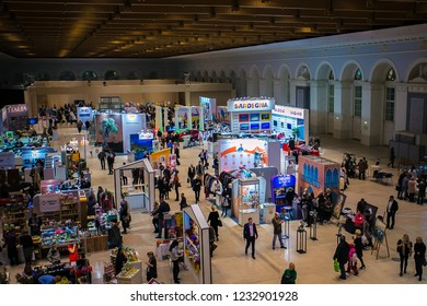 Moscow 7 August 2017: Crowd of anonymous people walking from above. businesspeople walking International Trade Fair & Conference. People walking in exhibition hall. large crowd of anonymous people