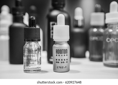 MOSCOW - 9 DECEMBER,2016: Big vape expo sale of new vaping devices,ejucie liquid & spare parts for electronic cigarettes.Ecig vapers gathered on sale to buy new vaporizers.Modern e-cig technology