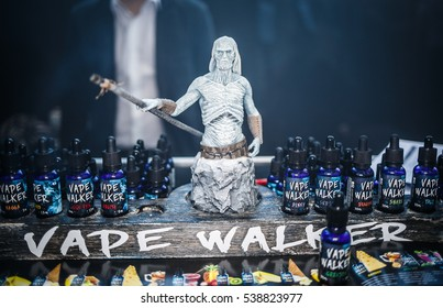 MOSCOW - 9 DECEMBER,2016: International Vape Expo.White Walker from Game of Thrones action figure at ejuice,eliquid sale.