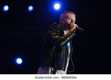 MOSCOW - 9 JULY, 2016 : Macklemore & Ryan Lewis performing for the first time in  Russia at Lastochka festival. Music concert on big stage