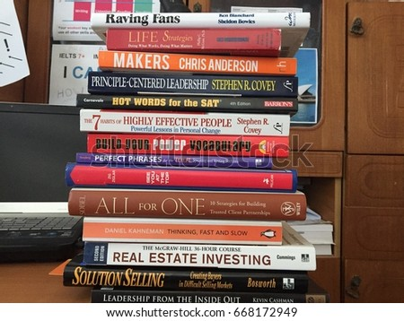 Moscow 9 July 2017 Collection Of Business Books Colorful Vocabulary Book Marketing
