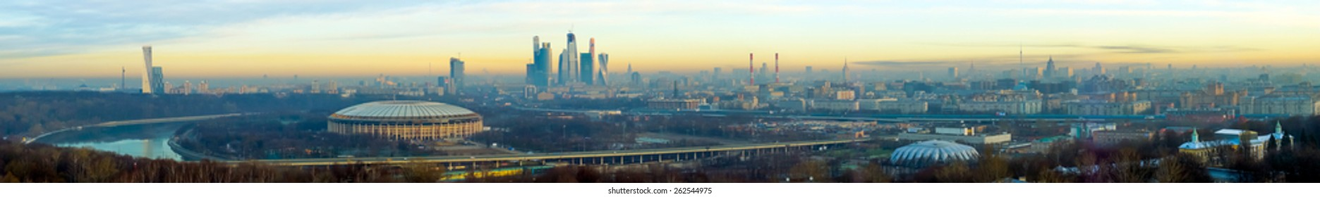 Moscow aerial panorama at early morning