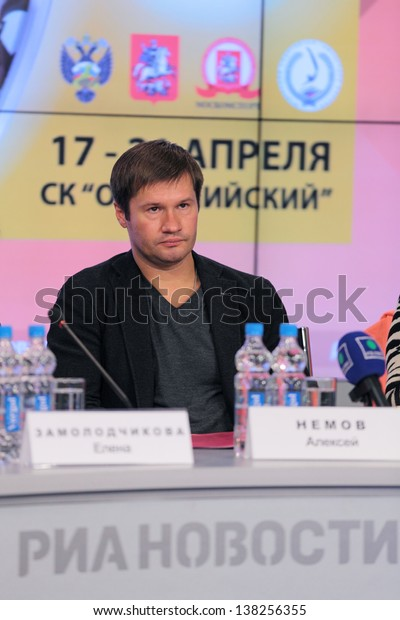 MOSCOW - APR 10: Alexei Nemov - the famous Russian gymnast on press-conference dedicated to the 2013 European Artistic Gymnastics Championships on April 10, 2013 in Moscow, Russia.
