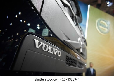 MOSCOW, APR, 18, 2018: Close up diagonal view on grey Volvo tipper truck logo on hood radiator. Swedish car logotype. Special commercial transport on exhibition Mining World 2018