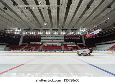 MOSCOW - APR 28: Preparation of ice for closing ceremony of the championship season of 2011-2012 Ice Hockey for Sports School, junior teams on April 28, 2012  in Sokolniki, Moscow, Russia.